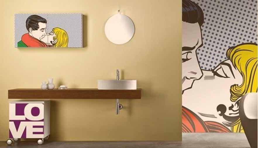 decoración de baño pop art